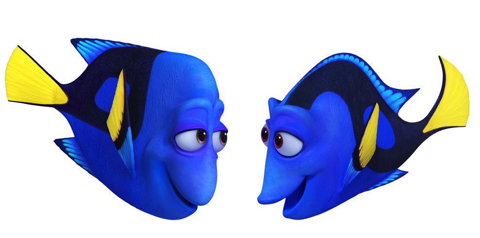 FINDING DORY - Pictured (L-R): CHARLIE (voice of Eugene Levy) and JENNY (voice of Diane Keaton) would do anything for their only child, Dory. They celebrate and protect her, striving to arm her with the skills she'll need to navigate the world with a faulty memory. Jenny may appear cheerful and a little flighty—but she's a protective mother and a smart role model. Charlie likes to joke around, but nothing is more important to him than teaching his memory-challenged daughter how to survive. . ©2016 Disney•Pixar. All Rights Reserved.