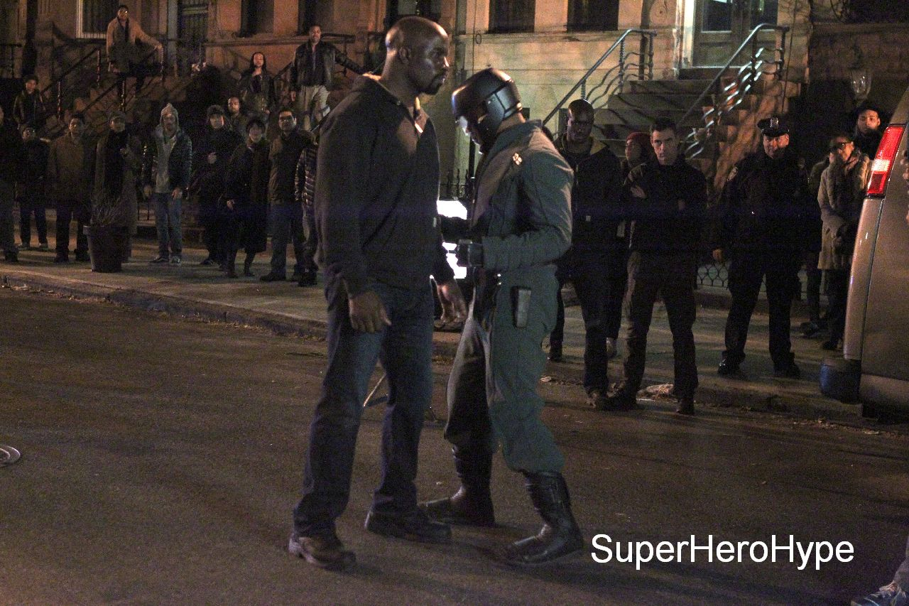 """NEW YORK, NY - MAY 23: Mike Colter, as Luke Cage ,Erik LaRay Harvey as """"Diamondback"""" filming big fight scene in Marvel Studios """"Luke Cage"""" on May 23, 2016 in New York City. (Photo by Steve Sands/GC Images)"""