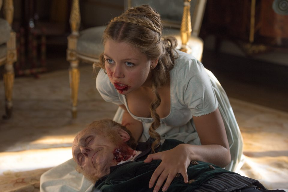 Annabelle (Jess Radomska) chewing her grandfather in Screen Gems