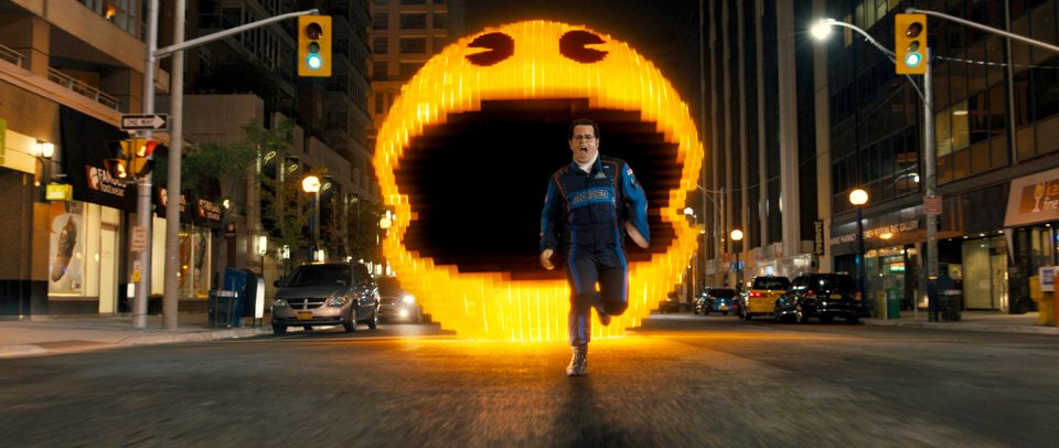 Pac-Man chases Ludlow (Josh Gad) in Columbia Pictures
