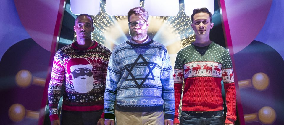 L-r, Anthony Mackie, Joseph Gordon-Levitt and Seth Rogen star in Columbia Pictures