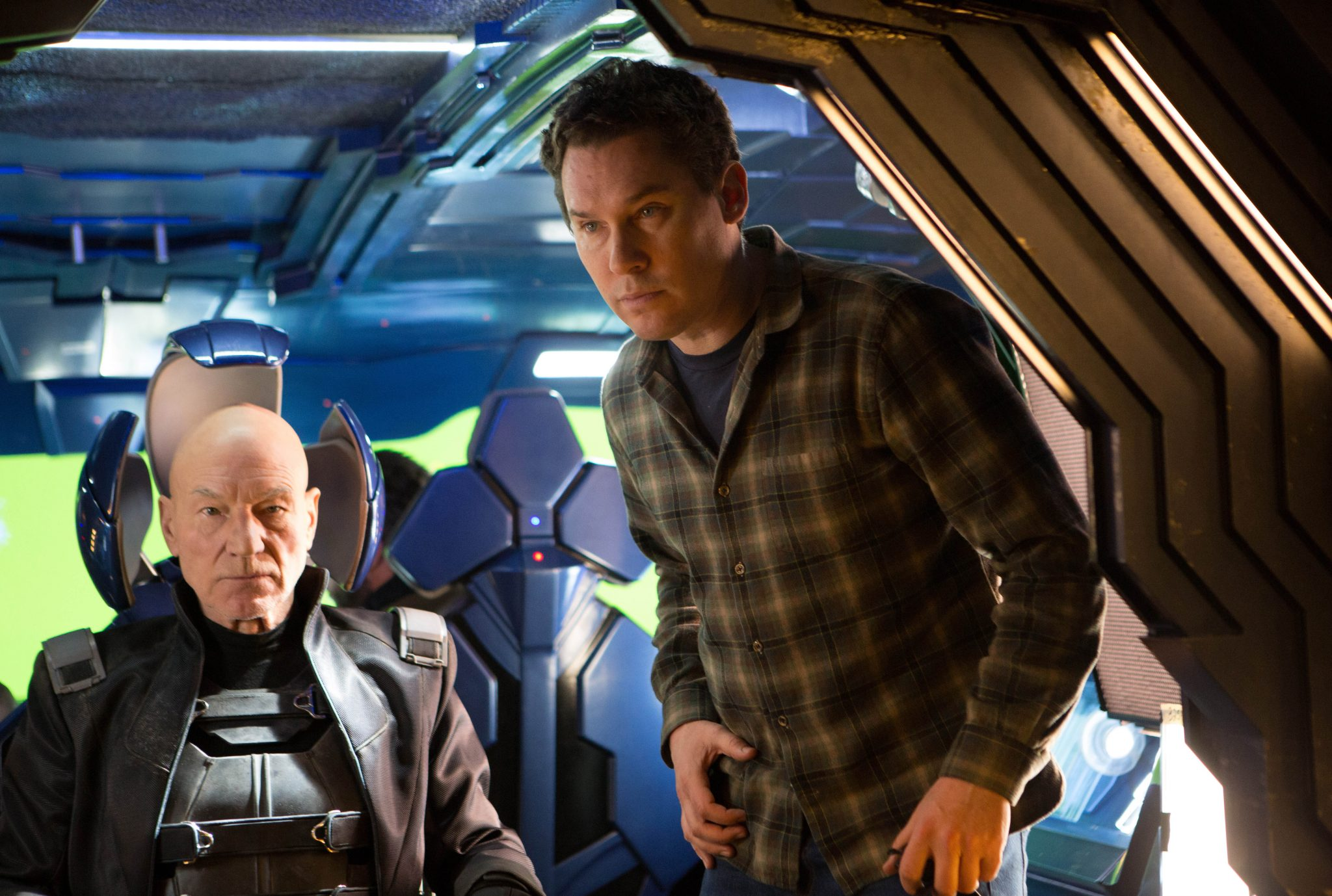 """This image released by 20th Century Fox shows director Bryan Singer, right, with actor Patrick Stewart on the set of """"X-Men: Days of Future Past."""" (AP Photo/20th Century Fox, Alan Markfield) ** Usable by LA and DC Only **"""