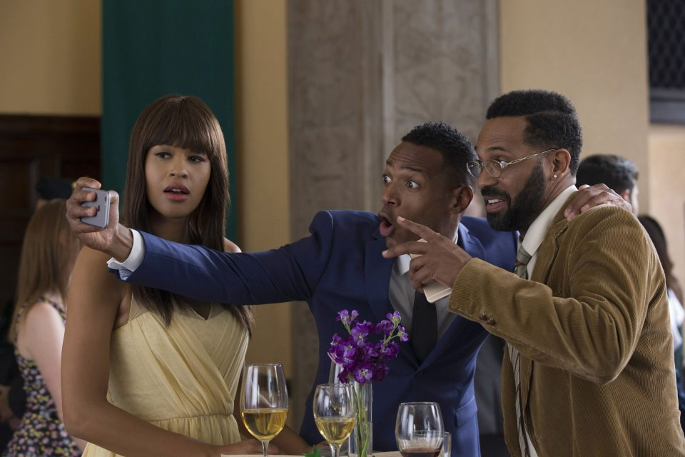(Left to right) Kali Hawk, Marlon Wayans and Mike Epps in FIFTY SHADES OF BLACK.