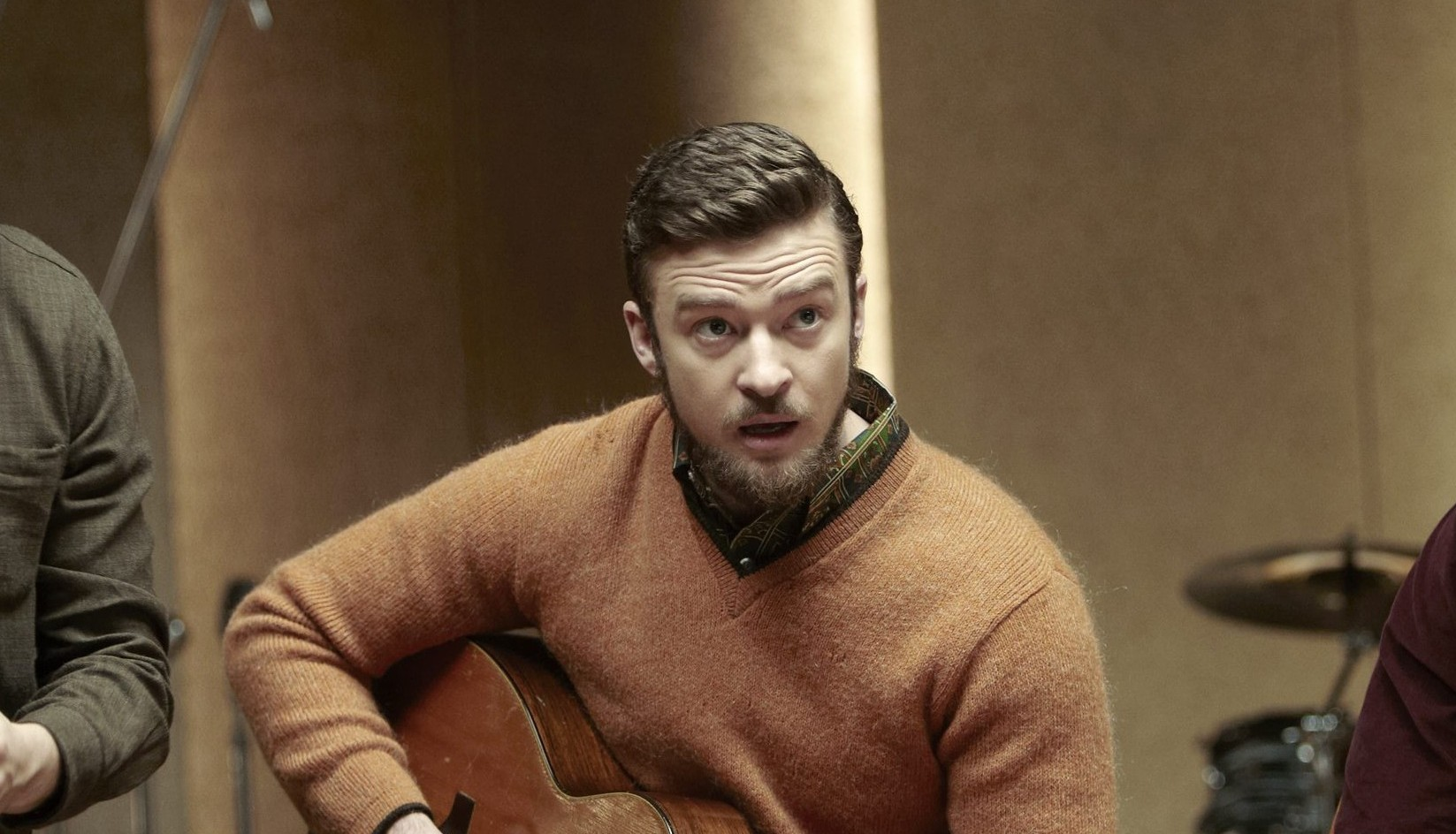 """FILE - This file film image released by CBS FIlms shows, from left, Oscar Isaac, Justin Timberlake and Adam Driver in a scene from """"Inside Llewyn Davis."""" In the Coen brothers film, Timberlake plays a supporting role as a cheery, sweater-wearing 1960s folk musician. But he also collaborated with producer T Bone Burnett on the movie's memorable period songs and helped shape the film's most unforgettable and comic tune, """"Please Mr. Kennedy."""" (AP Photo/CBS FIlms, Alison Rosa, File) ORG XMIT: NYET269"""