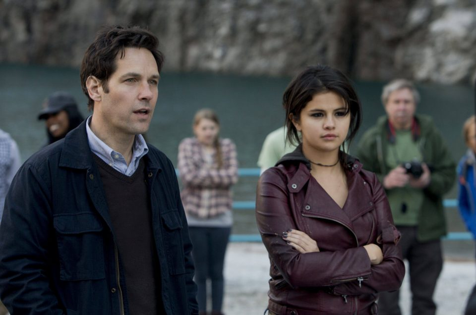 Gomez with Paul Rudd on set of the film.