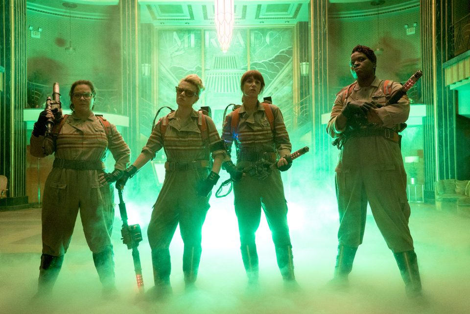 The Ghostbusters Abby (Melissa McCarthy), Holtzmann (Kate McKinnon), Erin (Kristen Wiig) and Patty (Leslie Jones) inside the Mercado Hotel Lobby in Columbia Pictures