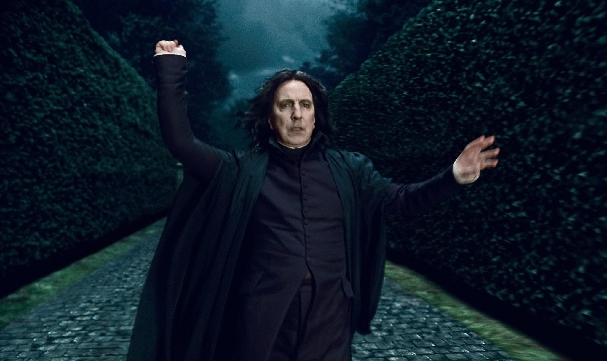 """HP7A-TR2-135 Alan Rickman as Professor Severus Snape in Warner Bros. Pictures' fantasy adventure """"HARRY POTTER AND THE DEATHLY HALLOWS – PART 1,"""" a Warner Bros. Pictures release. Photo courtesy of Warner Bros. Pictures"""