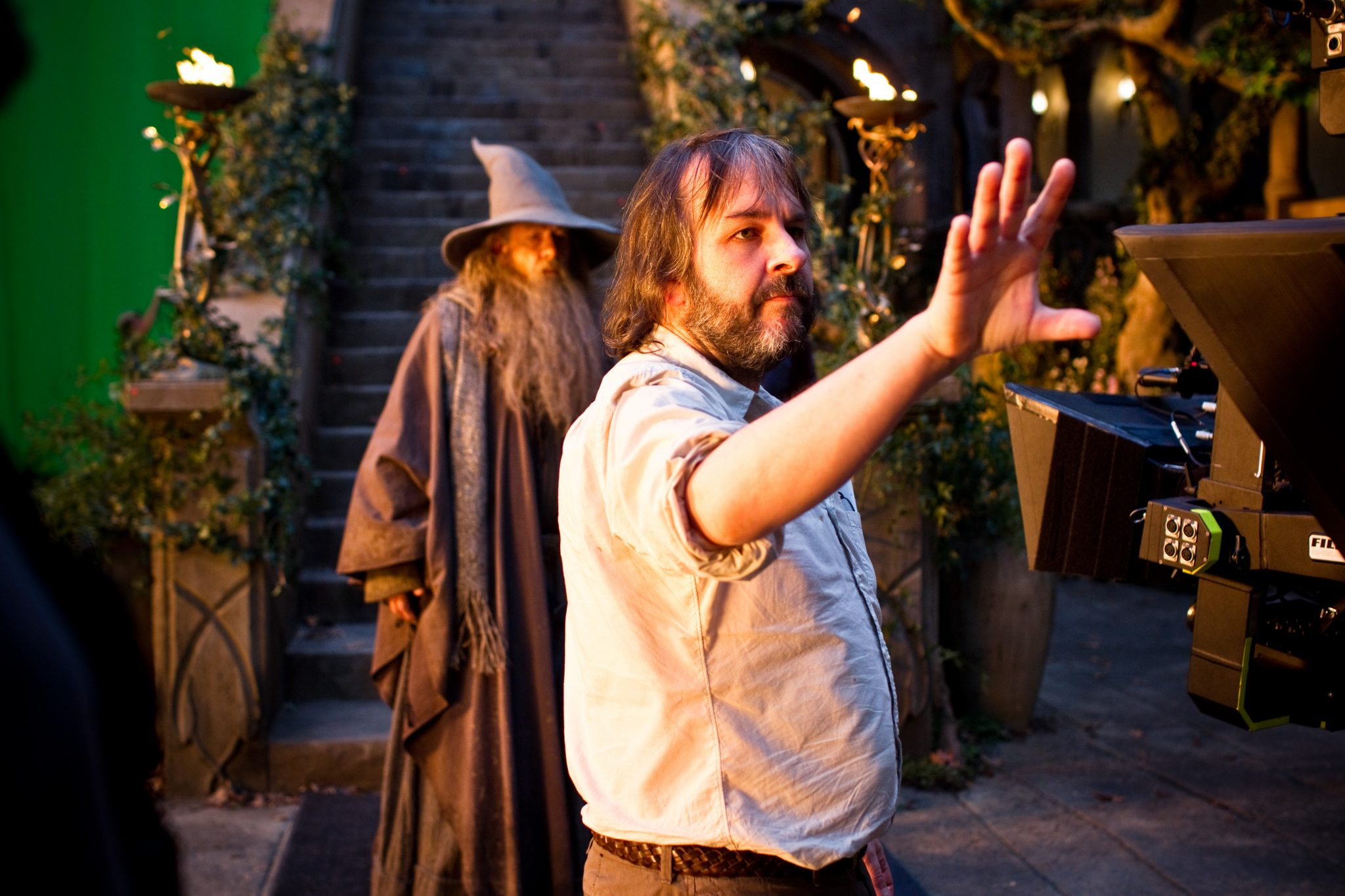 """(L-r) IAN McKELLEN and director PETER JACKSON on the set of the fantasy adventure """"THE HOBBIT: AN UNEXPECTED JOURNEY,"""" a production of New Line Cinema and Metro-Goldwyn-Mayer Pictures (MGM), released by Warner Bros. Pictures and MGM."""
