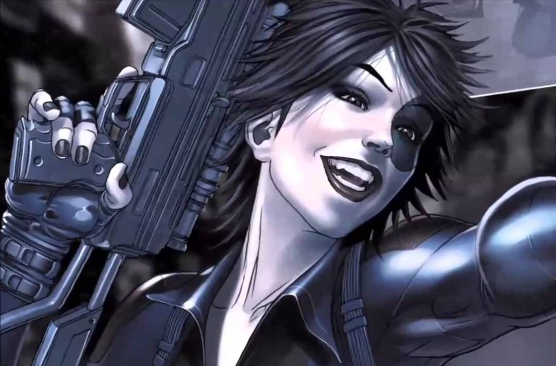 Domino from the Marvel comics.