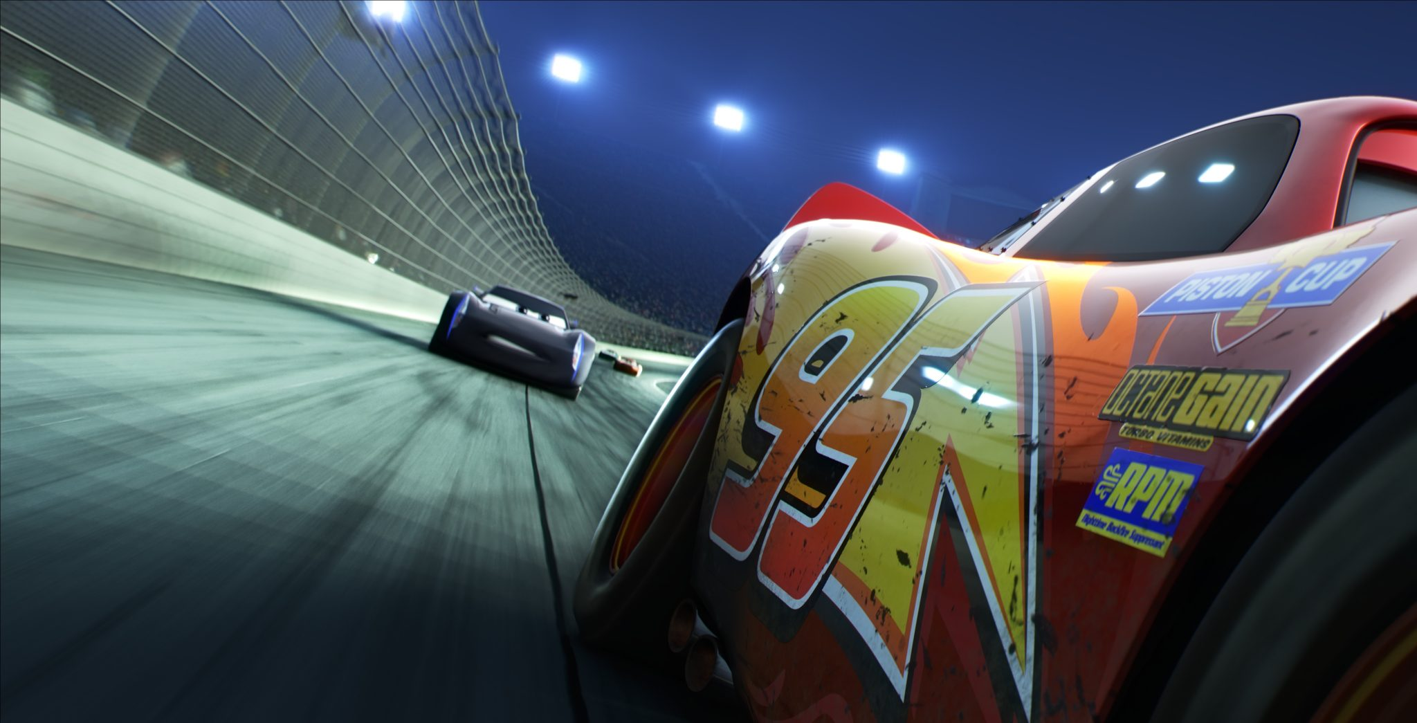 """REAR VIEW — The legendary #95 may be leading the pack, but the high-tech Next Gen racers are closing in fast. Directed by Brian Fee and produced by Kevin Reher, """"Cars 3"""" cruises into theaters on June 16, 2017. ©2016 Disney•Pixar. All Rights Reserved."""