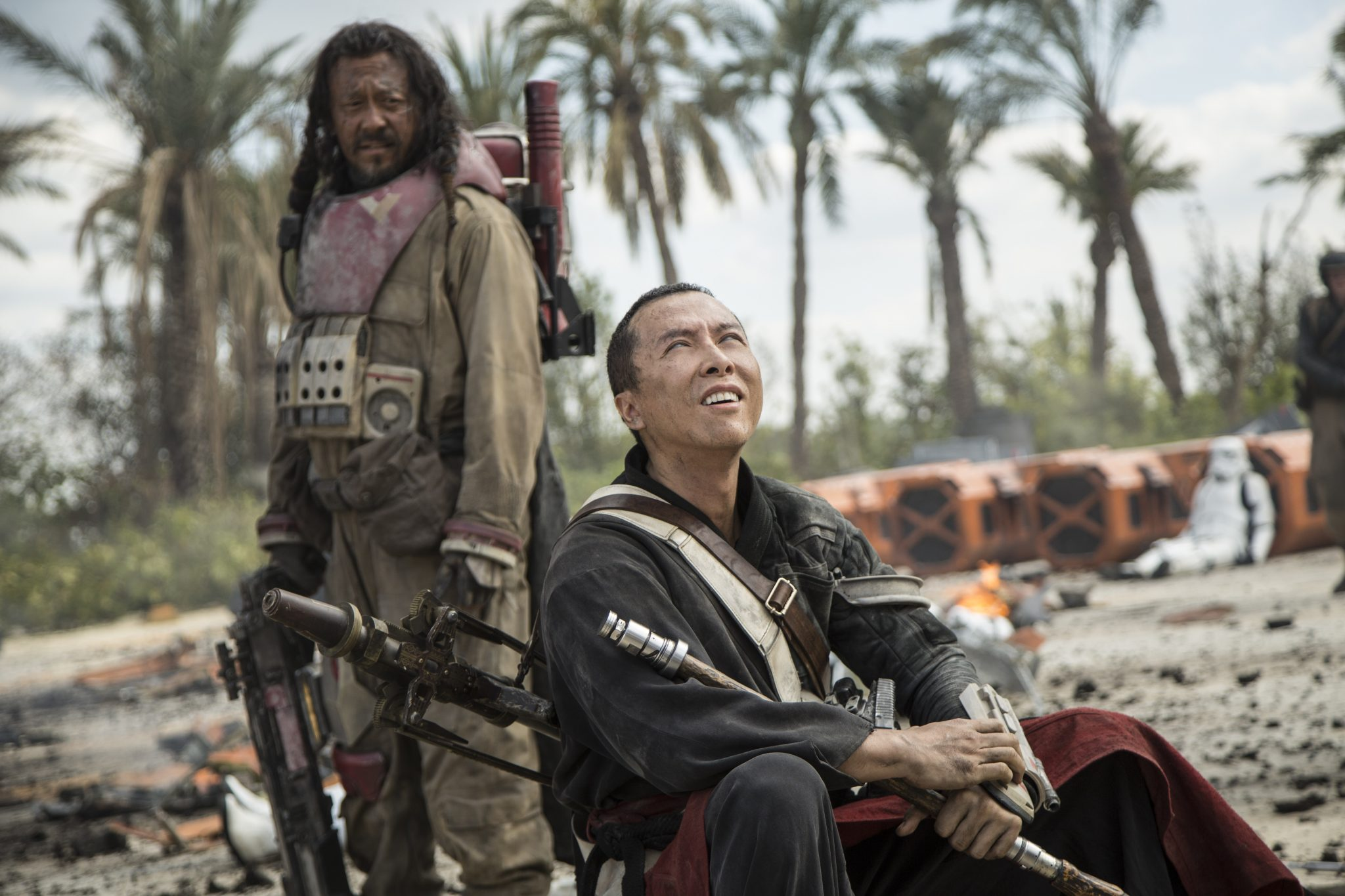 Rogue One: A Star Wars Story..L to R: Baze Malbus (Jiang Wen) and Chirrut Imwe (Donnie Yen)..Ph: Jonathan Olley..©Lucasfilm LFL 2016.