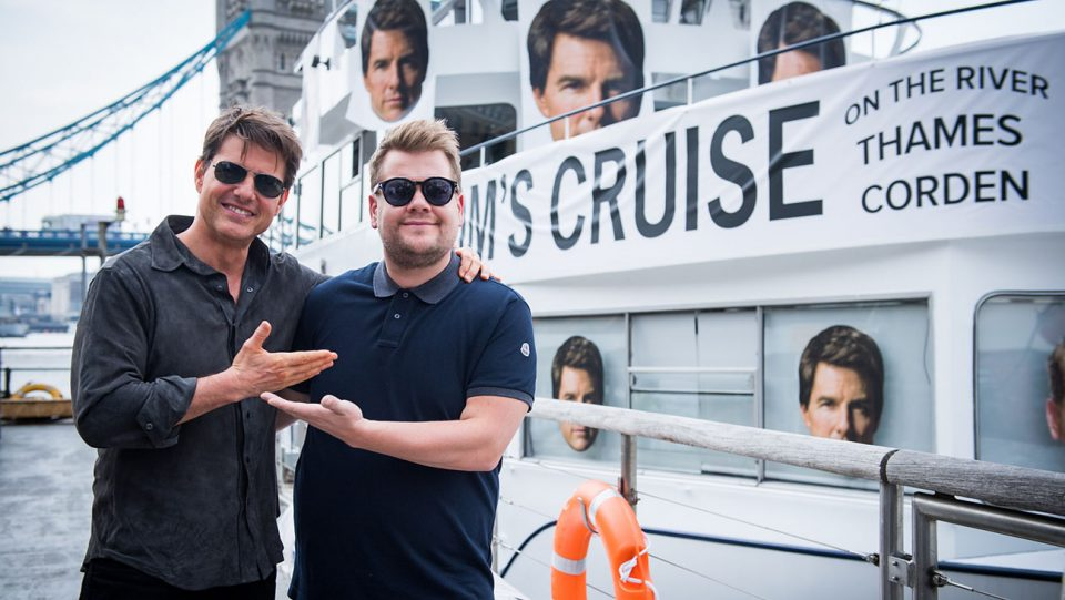 "Tom Cruise with James Corden in London during ""The Late Late Show with James Corden,"" airing Wednesday June 7th, 2017 from London (12:35 PM-1:37 AM ET/PT) On The CBS Television Network.  Photo: Craig SugdenCBS ¨©2017 CBS Broadcasting, Inc. All Rights Reserved"