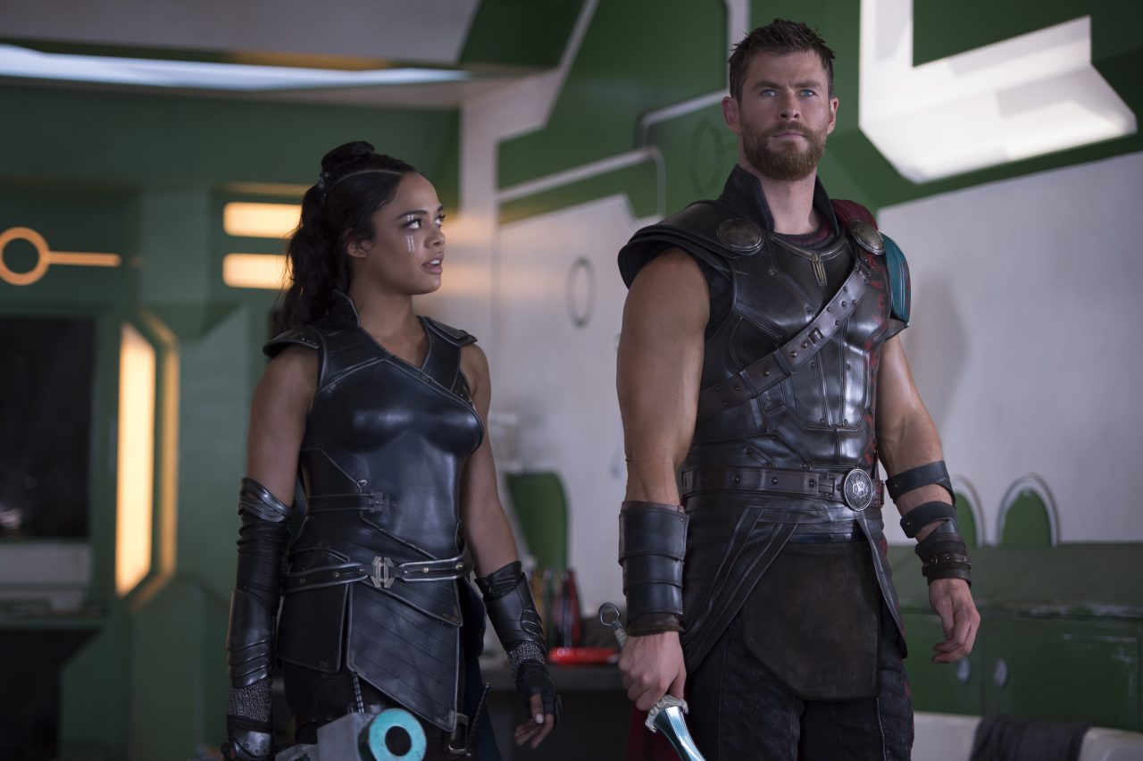 Thor: Ragnarok..L to R: Valkyrie (Tessa Thompson) and Thor (Chris Hemsworth)..Photo: Jasin Boland..©Marvel Studios 2017