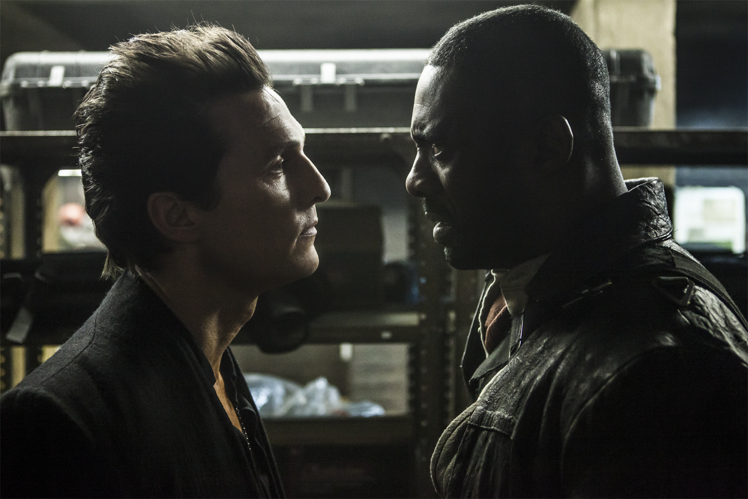 Walter (Matthew McConaughey) and Roland (Idris Elba) in Columbia Pictures THE DARK TOWER.